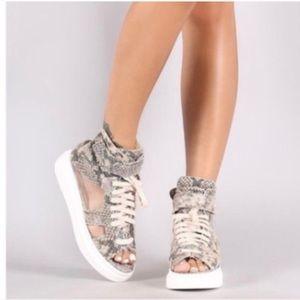 Shoes - Snakeskin High Top Sneaker Sandals